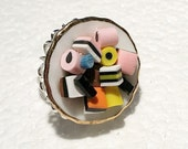 Licorice Allsorts Ring. Polymer Clay.
