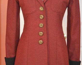 "Vtg Handmade 100% Fine Wool ""Equestrian"" Blazer, Sz 4, Burgundy/Black/Gold, New"