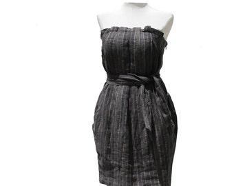 Brown & Gray Stripe Strapless  Linen Mini Dress