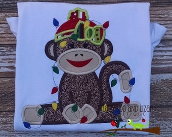 Girl's Christmas Sock Monkey Wrapped in Lights Long Sleeve Ruffle Top with Monogram Size 12M-18M, 2T-5T, 6