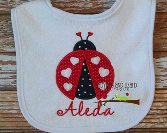 Girl's Monogram Red or Pink Ladybug Bib