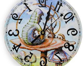 Alice in Wonderland Caterpillar Clock Runs Backwards  Made in the U.S.A.