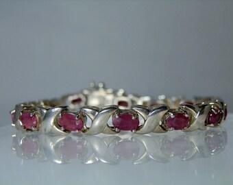Vintage Sterling Silver Authentic Ruby Tennis Bracelet 7.50 inch 16.43 grams Locking Clasp Marked 925 Link Bracelet