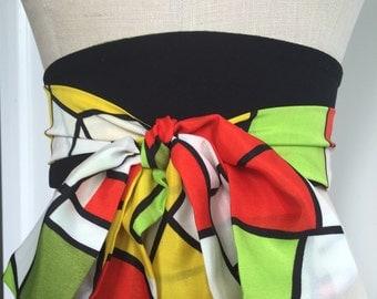Stained glass inspired obi, reversible obi belt sash, green brocade obi belt sash, multi color obi, bright colors obi sash, graphic shapes