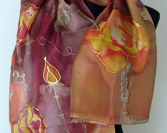 Hand Painted Silk Scarf. Roses scarf. Floral art silk scarf. Shades of Terracota, Red Plum, Orange, Pink. Painted Silk Scarf