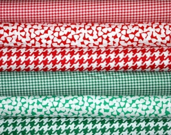 Christmas Fabric Bundle for quilt or craft Red and Green Fabric 6 Half yards