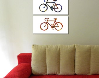 Fashion bicycle,two canvas bicycles,vintage two bicycles, ancient history,warm and golden colour, modern home decor,travel lovers