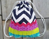 Drawstring Ruffle Backpack - Toddler Backpack - Navy Chevron - Ready to Ship