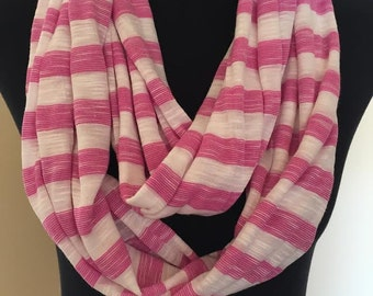 New White and Pink Stretch Knit Striped Infinity Scarf