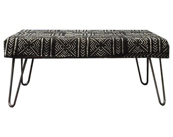 Modern Mudcloth BENCH Ottomans (Black and White)