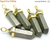 15% Valentines Day Pyrite Double Terminated Pendant Gold plated Bail-- Pencil Point Pendant  (S48B6-03)