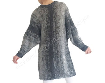 Women sweater dress oversized loose hand knitted gray ombre spring knitwear chunky slouchy jumper INES