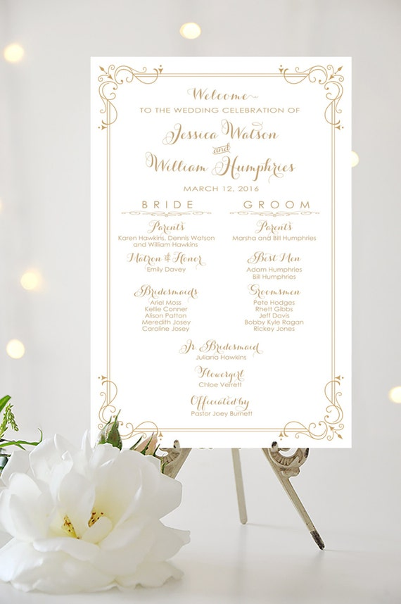 Wedding Program Sign Bridal Party Poster By CharmingEndeavours