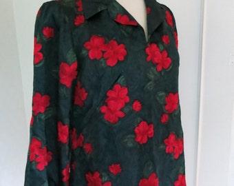 Green floral vintage blouse