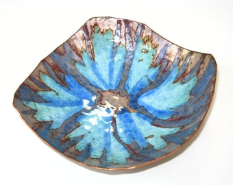 "Vintage Turquoise Atomic Starburst Enamel on Copper Plate Abstract Dish -""Mirrle"" Squires Studio Artist Signed Tray"