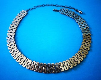 glamour galore - RENOIR Copper NECKLACE gorgeous MESH pattern Asian style Vintage SiGNED Matisse