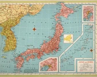 LARGE Antique Vintage JAPAN map, original 1940s