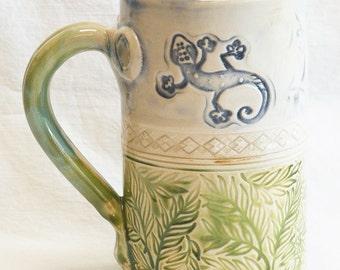 ceramic gecko mug 16oz stoneware 16D062