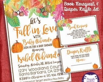 Fall Baby Shower Set -Invitation + Diaper Raffle Ticket + Book Request   - I design you print