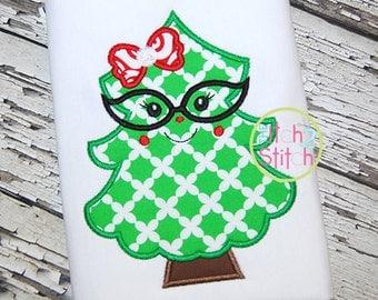 Christmas Tree with Glasses - Christmas Shirt - Girl's Holiday Shirt Design