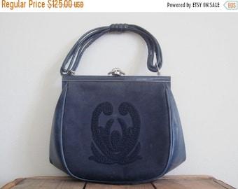 Comtesse / 60s Bag / Mad Men Purse / Western Germany / Blue Leather Bag / Ladylike / Handbag / Jackie Kennedy / Retro / Rare / Collectible