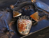 Silver California Cayuga Canyon Jasper and Agate Necklace with Lamp Work Beads