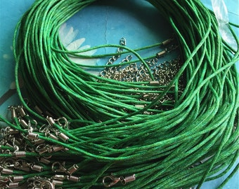 Promotion Sale--25 pieces 17-19 Green cotton necklace cords including  lobster clasps and extention chains