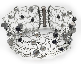 Hematite Bracelet - Hematite Cuff - Knit Cuff - Knit Metal Cuff - Knit Metal Jewelry - Copper Bracelet - Wedding Cuff - Mesh Metal Cuff