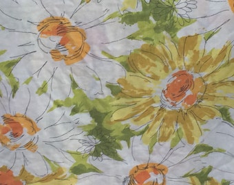Vintage, sheet, flat, double, full, floral, flowers, orange, yellow, green, retro, flowers, linens, bedding, fabrc, flower power, daisy,