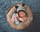 Knitting PATTERN - Raccoon Hat Knitting Pattern - Knitting Patterns Hats - Raccoon Bonnet - Raccoon Pixie Hat - Newborn - PDF 419