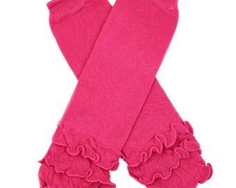 Fuchsia Leg Warmers for Babies Toddlers Girls Newborns Cotton Ruffle Leggings