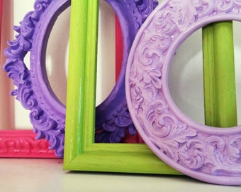 Gallery Wall Frames, Empty Scatter Frame Collection, Bright and Chic, Lavender, Pink, Lime, Upcycled Home Decor, Funky Vintage, 3 x 5, 5 x 7