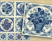Floral Coasters, Digital Square Coasters, Delft Blue Set of Printable Cards. Printable tags 4x4 inch -2x2 inch, DIY craft supplies