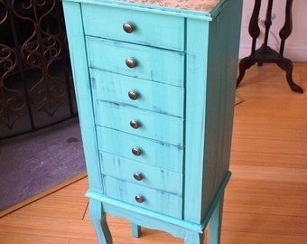 Hand painted Beautiful X Large Duck egg Blue Wooden Jewelry Box / Jewelry Armoire / Chest