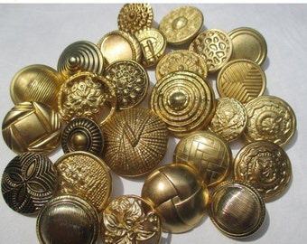 AUGUST SALE 20% Off, 25 Goldtone Textured Metal Shank Button Mix...military, metal findings, assemblage, sewing, steampunk, GORGEOUS Glam