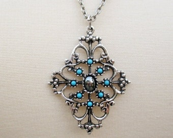 SUMMER SALE 20% Off Vintage Avon Signed Silvertone Necklace~Filigree Pendant with Turquoise Stones