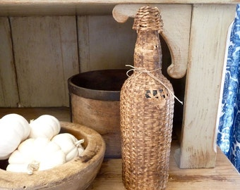 Vintage Wicker Bottle Canteen Flask Jug Rustic French Farmhouse Cottage Decor