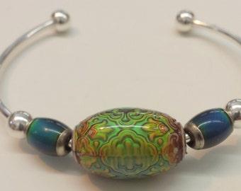 Persian Beauty Mood Bead Silver Plate Cuff Bracelet