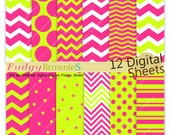 """ON SALE Girls party Digital paper pack 12""""x12"""", hot pink birthday, pink green party background , No.273/2, party tags background"""