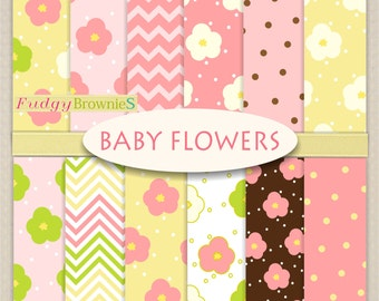 "ON SALE Baby Flowers Digital Paper Set, digital paper pack, 12x12"", No.281-2, pink flowers, baby shower scrapbooking"