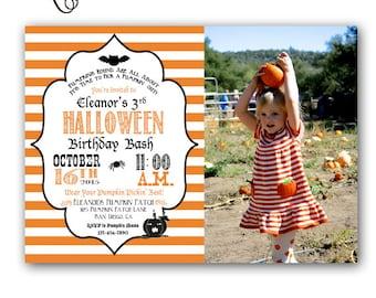 Halloween Birthday Invitation Costume Party Halloween Party Customizable 5x7 Invitation Pumpkin Patch Party Pumpkin Photo Invitation
