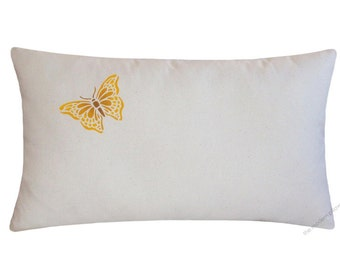 Golden Yellow Butterfly Decorative Throw Pillow Cover / Pillow Case / Cushion Cover / 12x20""