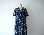 1950s dress . vintage 50s print dress . l xl