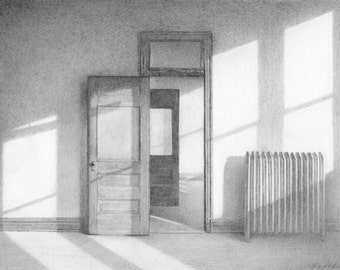 after hours, delicate and detailed drawing of abandoned interior, miniature drawing, architectural drawing, noir, Hopper style drawing