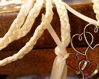 handfasting cords Ivory hand binding cords with silver linked double heart charms