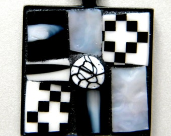 Abstract Square Black and White MOSAIC Pendant - Mosaic Necklace - China - Stained Glass - Millefiore Bead
