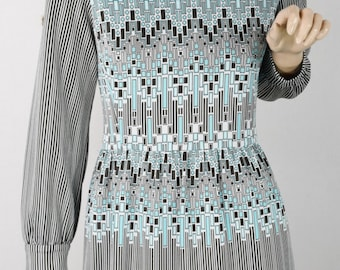 Vintage 1970's Women's Kimberly KNIT Op Art OpTiC Geometric Pin Striped MOD Career Dress M