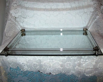 Vintage Large Mirror Dresser Vanity Perfume Tray w/ Glass Rod Rails Only 20 USD