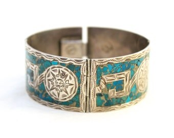 Sterling Silver & Turquoise Cuff Bracelet // Mexican // Vintage and Very Unique