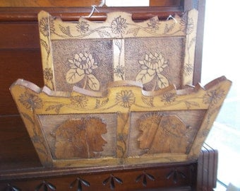 Stunning Antique PYROGRAPHY Wall MAGAZINE RACK- Excellent Handcrafted Folk Art- 1920's Era